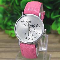 "Часы женские ""Who cares"" на розовом кожаном ремешке"