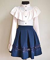 Детская школьная блузка для девочек 9 -13 лет цвет пудры