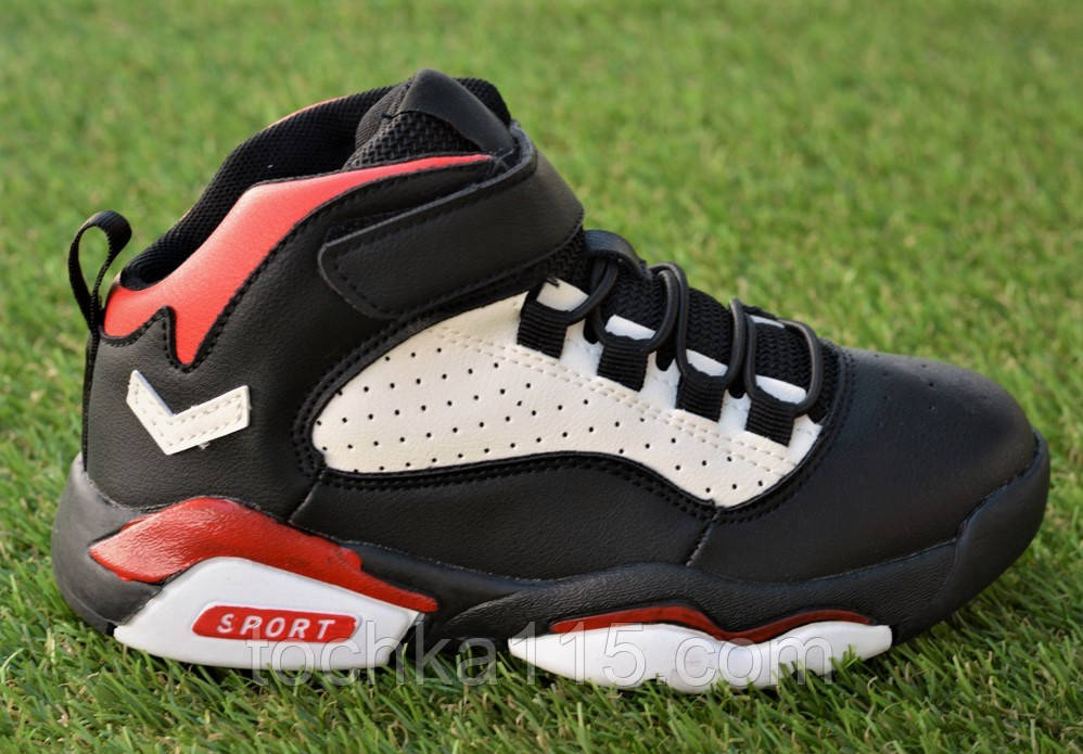 Высокие детские кроссовки Nike Air Jordan Black найк черный р32-37