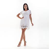 Короткое легкое летнее женское белое платье марлевка с кружевом 42/46
