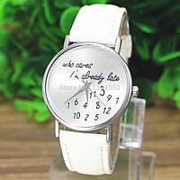 """Часы женские """"Who cares"""" на белом кожаном ремешке, фото 1"""