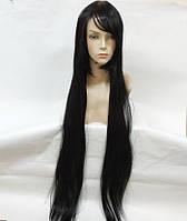 Парик женский искусственные волосы аниме черный карнавальный 100см косплей cosplay прямой ровный