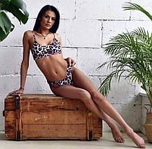 Леопардовый раздельный купальник с топом на бретелях женский