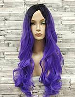 Парик женский с пробором волнистый *омбре фиолетовый