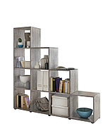 Удобный стеллаж для дома, лестница, книжный шкаф из ДСП 10 отделений, Бетон