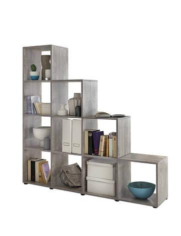 Удобный стеллаж для дома, лестница, книжный шкаф из ДСП 10 отделений, Бетон, фото 2
