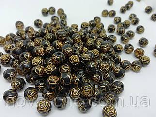 """Бусины  """"роза"""" черный золотом 6 мм 500 грамм"""