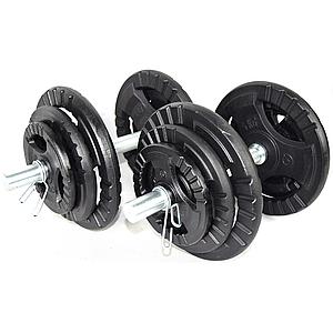 Гантелі розбірні (набірні) KAWMET 2шт по 20кг (40 кг) з затискачами