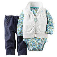Теплый детский комплект 3в1(штанишки+боди+теплая флисовая жилетка)для девочки Картерс