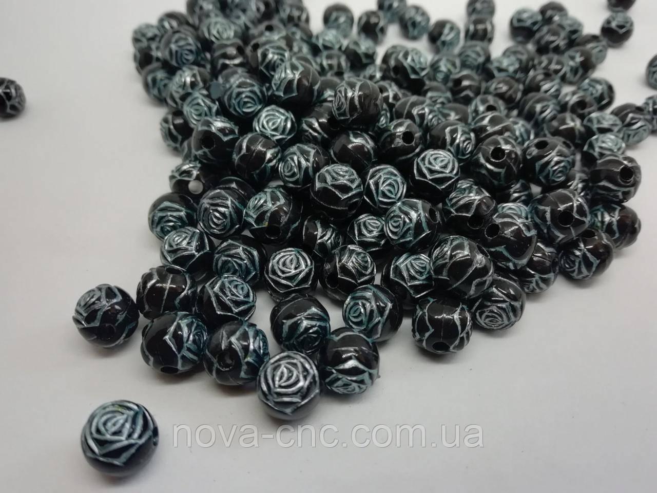 """Бусины пластик """"Роза"""" черный с серебром 10 мм 500 грамм"""