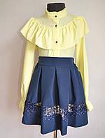 Детская школьная блузка на девочек 9 -13 лет, лимонного цвета, фото 1