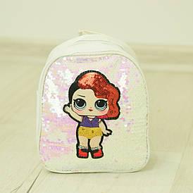 Детский рюкзачок ЛОЛ с пайетками - №19-41-1 белый