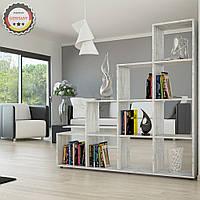 Удобный стеллаж для дома, лестница, книжный шкаф из ДСП 10 отделений, Белый