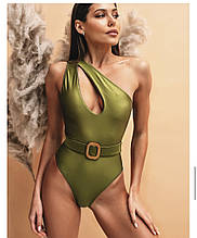 Оливковый цельный купальник с вырезом женский