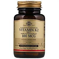 Натуральный Витамин К2, Solgar, Naturally Sourced Vitamin K2, 100 мкг, 50 вегетарианских капсул