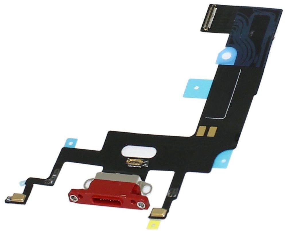 Шлейф iPhone XR с разъемом зарядки и микрофоном красный