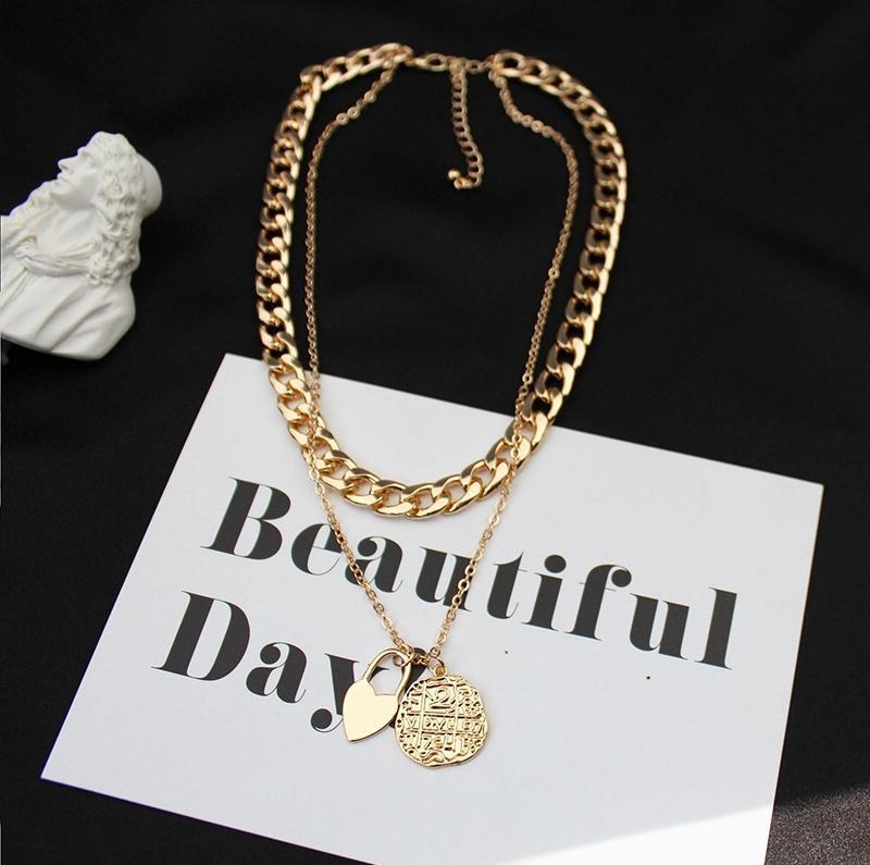 Цепь золотая женская многослойное колье крупная цепочка подвеска ожерелье