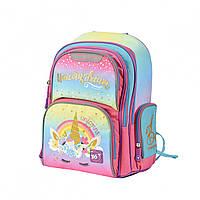 """Рюкзак школьный каркасный YES """"Unicorn""""  (ортопедический рюкзак, ранец для девочки 6-10 лет)"""