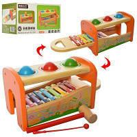 Деревянная игрушка Центр развивающий WW-820 30см,ксилофон,сортер-стучалка,в кор-ке 31-17-15см