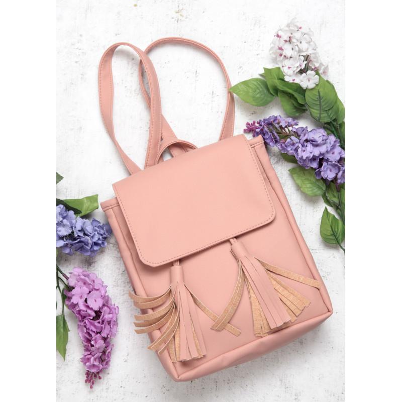Рюкзак женский розовый с кисточками Sambag разные размеры 22100006