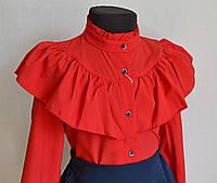 Детская школьная блузка на девочек 9 -13 лет красного цвета, фото 1