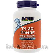 Рыбий жир + Д3, Tri-3D Omega, Now Foods, 90 желатиновых капсул