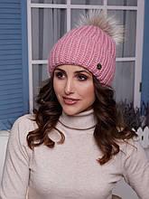 Женская шапка Оливия с помпоном натуральным лисица