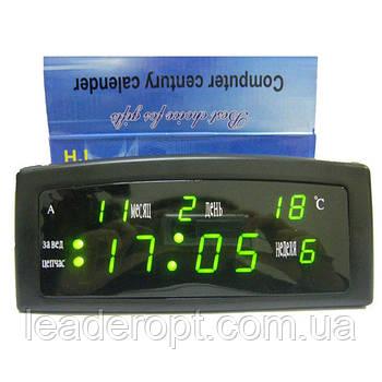 ОПТ Настольные электронные часы с будильником и термометром Caixing CX 909 green