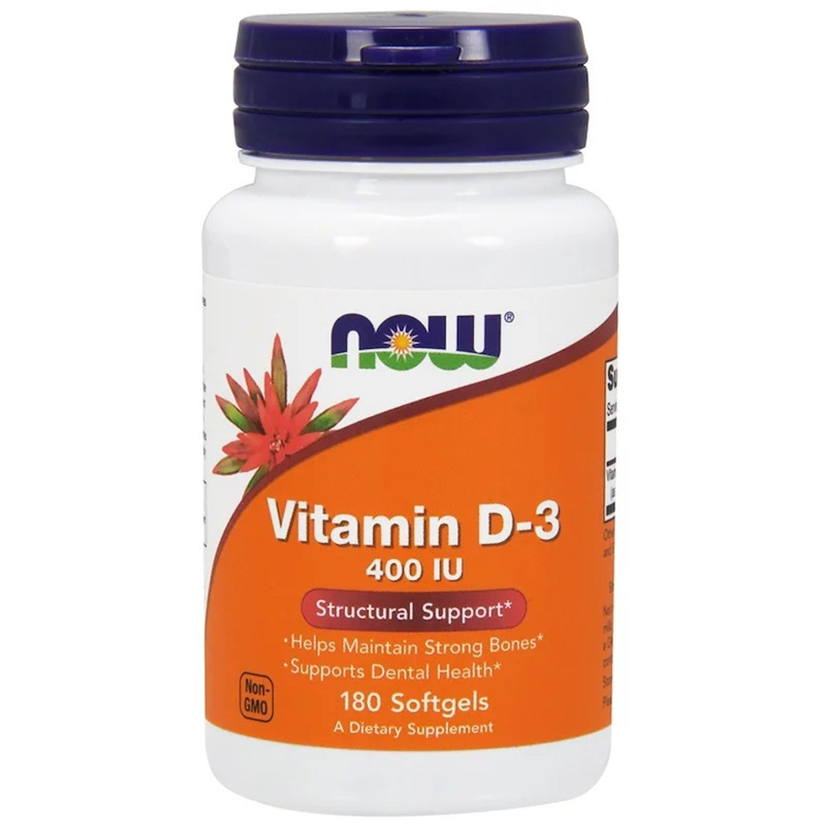Витамин D3, Vitamin D-3, Now Foods, 400 МЕ, 180 желатиновых капсул
