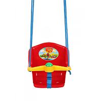 Качеля детская с пищалкой Технок 1790 Солнышко Красная пластиковая подвесная качеля