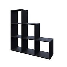 Удобный стеллаж для дома, лестница, книжный шкаф из ДСП 6 отделений, Белый, фото 3