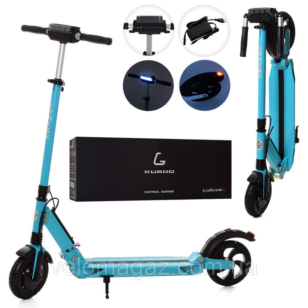 Электросамокат, електросамокат ES 2-010-B, 350W, до 25 км/ч, дисплей, фара, амортизаторы, голубой