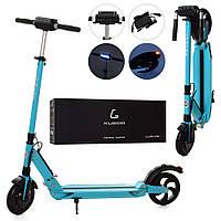 Электросамокат, електросамокат ES 2-010-B, 350W, до 25 км/ч, дисплей, фара, амортизаторы, голубой, фото 1