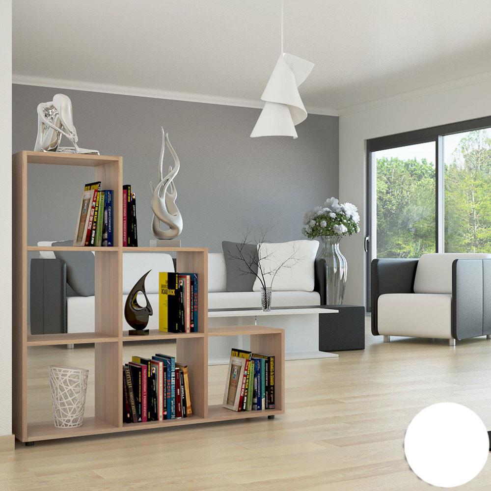 Удобный стеллаж для дома, лестница, книжный шкаф из ДСП 6 отделений, Дуб Сонома