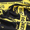 Футболка мужская черная с желтым принтом OFF-WHITE №5, лента Ф-11 BLK M(Р) 19-644-020-002, фото 5