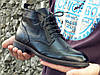 Демисезонные ботинки броги мужские черные кожаные размер 40, 41, 42, 43, 44, 45, фото 2