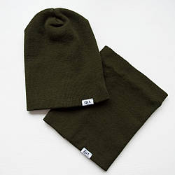 Комплект зимняя шапка и бафф хаки