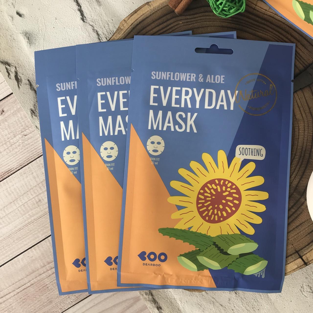 Успокаивающая маска Dearboo с маслом подсолнуха и экстрактом алоэ Sunflower & Aloe Everyday Mask