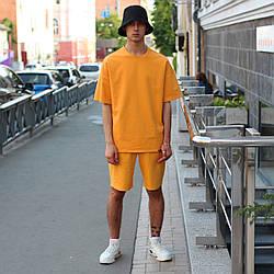 Летний комплект: оранжевая футболка мужская Quil (Квил)+ оранжевые шорты мужские  Duncan (Дункан)