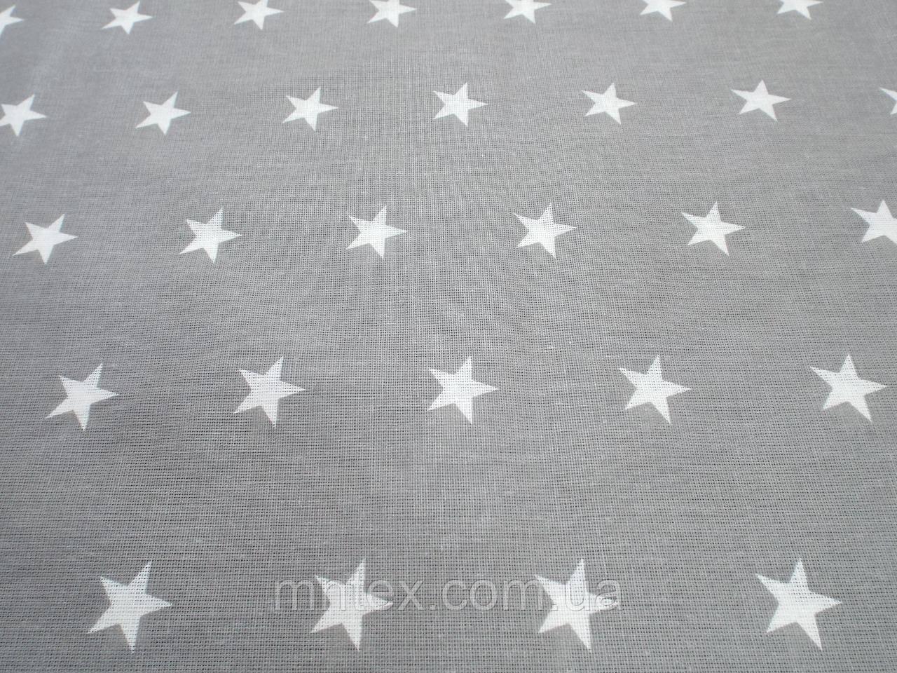 Ткань для пошива постельного белья ранфорс Пакистан, Звезды на сером