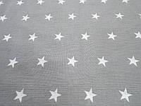 Ткань для пошива постельного белья ранфорс Пакистан, Звезды на сером, фото 1