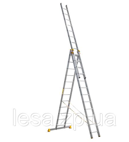 Лестница алюминиевая профессиональная трехсекционная универсальная 3 х 10 ступеней