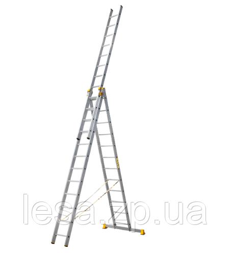 Лестница алюминиевая профессиональная трехсекционная универсальная 3 х 12 ступеней