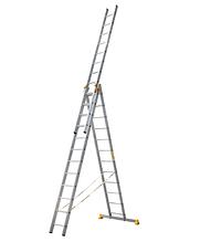 Лестница алюминиевая профессиональная трехсекционная универсальная 3 х 18 ступеней