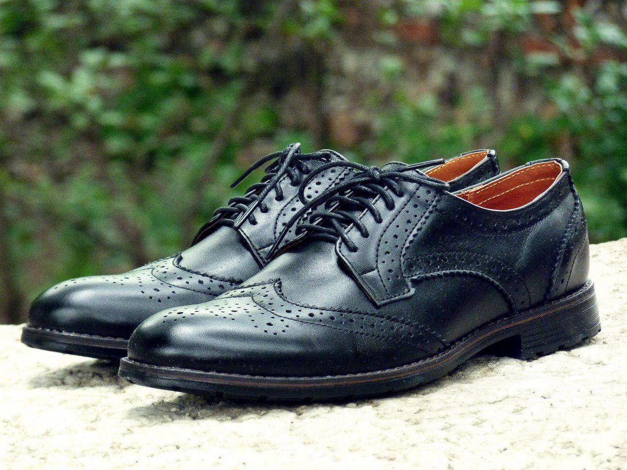 Мужские черные кожаные туфли броги Onyx