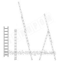 Лестница алюминиевая профессиональная трехсекционная универсальная 3 х 16 ступеней, фото 3