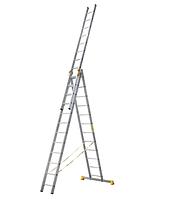 Лестница алюминиевая профессиональная трехсекционная универсальная 3 х 14 ступеней, фото 1