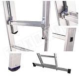 Лестница алюминиевая профессиональная трехсекционная универсальная 3 х 14 ступеней, фото 3