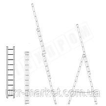 Лестница алюминиевая профессиональная трехсекционная универсальная 3 х 18 ступеней, фото 3
