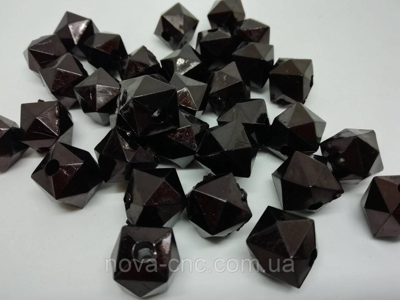 """Намистини пластик """"Куб грані"""" чорний 12 мм 500 грам"""